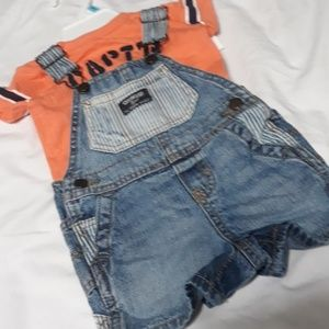 Oshkosh Shortalls & Shirt 6m